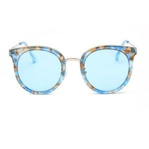 Blue Translucent Round Fashion Sunglasses